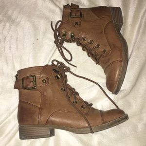 Brown short lace up booties